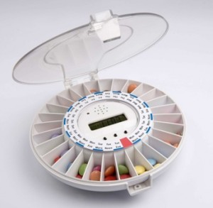 The Medelert pill dispenser sounds an alarm when it is time to take your pill