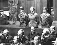 German doctor Karl Brandt one of the senior figures responsible for organising the Third Reich's euthanasia programme in which people with schizophrenia were killed by lethal injection stands trial at Nuremberg in 1946.
