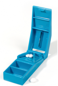 Pill cutters cost a few pounds and can be obtained at most chemists.