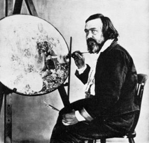 """Richard Dadd at work on """"Contradiction: Oberon and Titania."""""""
