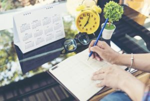 Basic time management tools like a clock, diary and calendar are essential.